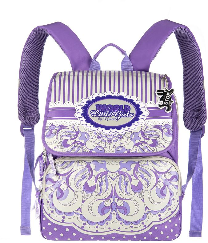 Grizzly Рюкзак школьный цвет сиреневый RA-545-372523WDШкольный рюкзак для девочек, с клапаном, двумя основными отделениями, передним объемными карманом на молнии, объемным пеналом на передней стенке, с анатомической спинкой.