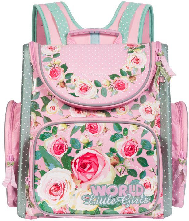 Grizzly Рюкзак школьный цвет розовый RA-668-472523WDРюкзак, одно отделение, объемный карман на молнии на передней стенке, объемные боковые карманы на молнии, внутренний составной пенал-органайзер, жесткая анатомическая спинка, дополнительная ручка-петля, эластичные лямки, брелок-игрушка, светоотражающие элементы с четырех сторон.