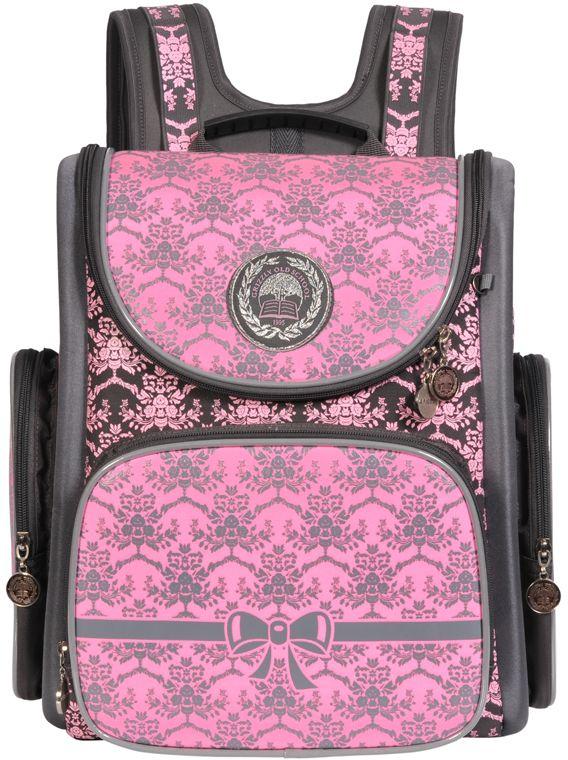 Grizzly Рюкзак школьный цвет серый розовый RA-668-872523WDРюкзак школьный, одно отделение, объемный карман на молнии на передней стенке, объемные боковые карманы на молнии, внутренний составной пенал-органайзер, жесткая анатомическая спинка, дополнительная ручка-петля, эластичные лямки, брелок-игрушка, светоотражающие элементы с четырех сторон.
