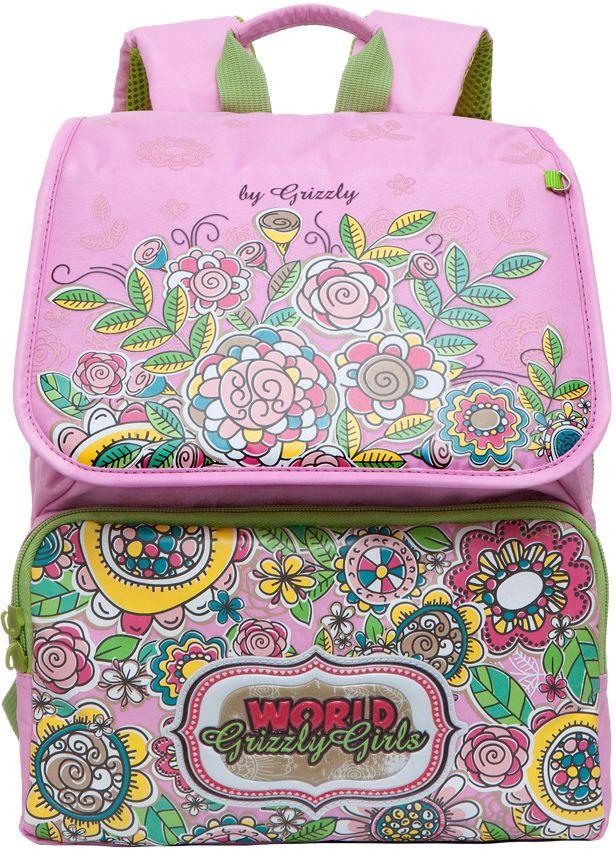 Grizzly Рюкзак школьный цвет розовый RA-672-4730396Рюкзак школьный, два отделения, клапан на липучках, два объемных кармана на молнии на передней стенке, внутренний составной пенал-органайзер, жесткая анатомическая спинка, укрепленные лямки, дополнительная ручка-петля, брелок-катафот, светоотражающие элементы с четырех сторон.