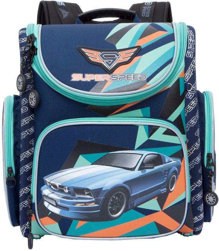 Grizzly Рюкзак школьный цвет синий RA-770-4RA-770-4/1Рюкзак, одно отделение, объемный карман на молнии на передней стенке, объемные боковые карманы на молнии, внутренний составной пенал-органайзер, жесткая анатомическая спинка, дополнительная ручка-петля, эластичные лямки, брелок-катафот, светоотражающие элементы с четырех сторон.