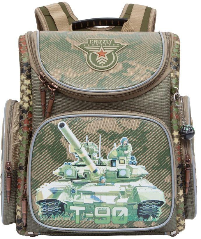 Grizzly Рюкзак школьный цвет оливковый RA-770-672523WDРюкзак-трансформер с одним основными отделением, передним и боковыми объемными карманами на молнии, объемным пеналом на передней стенке, с анатомической спинкой. Рюкзак имеет светоотражающие элементы.