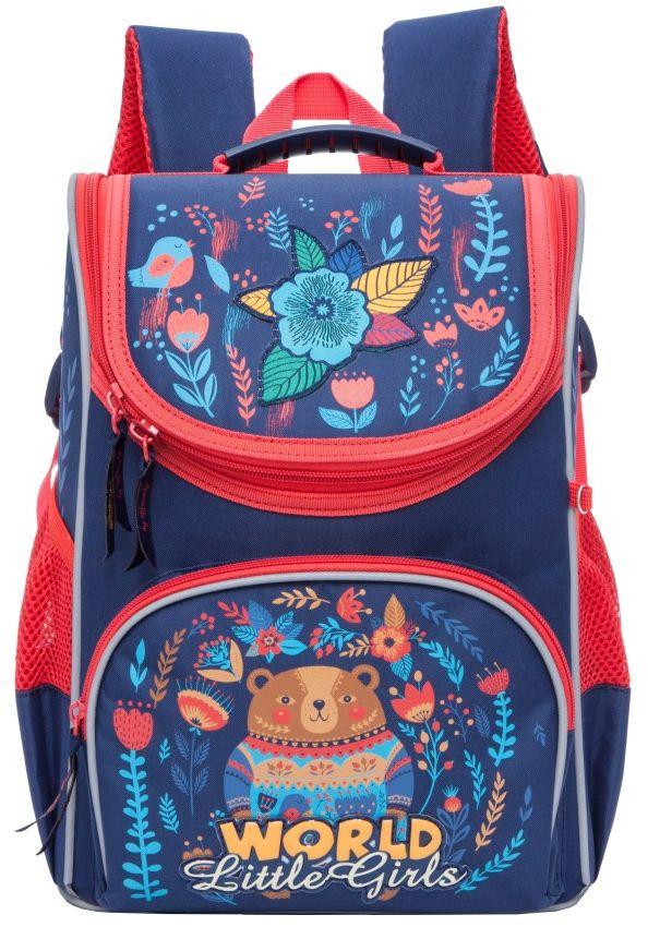 Grizzly Рюкзак школьный цвет темно-синий RA-773-272523WDРюкзак школьный, одно отделение, объемный карман на молнии на передней стенке, боковые карманы из сетки, откидное жесткое дно, разделительная перегородка-органайзер, укрепленная спинка, дополнительная ручка-петля, укрепленные лямки, брелок-катафот, светоотражающие элементы с четырех сторон.
