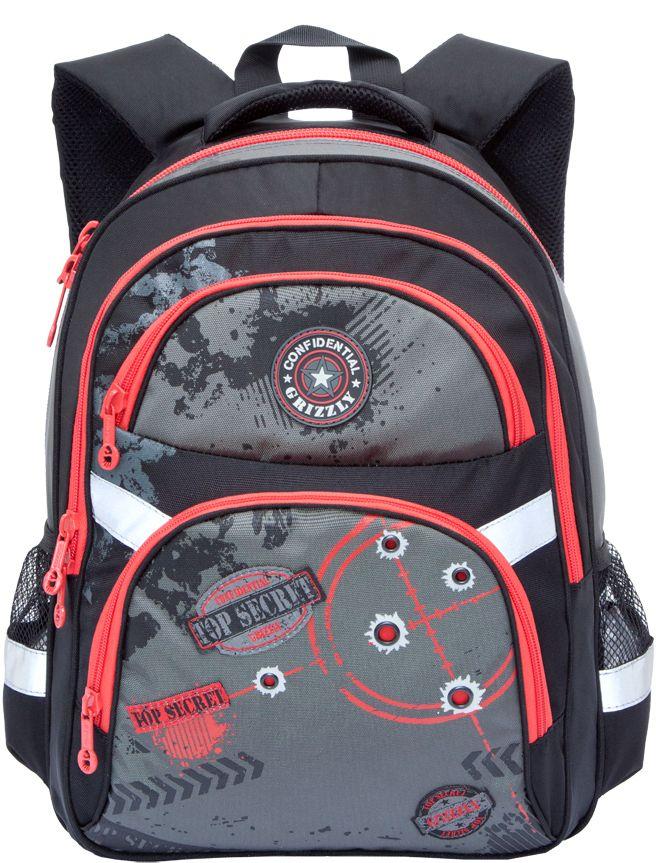 Grizzly Рюкзак школьный цвет черный красный RB-629-272523WDРюкзак школьный, два отделения, два объемных кармана на молнии на передней стенке, боковые карманы из сетки, внутренний подвесной карман на молнии, внутренний составной пенал-органайзер, откидное жесткое дно, жесткая анатомическая спинка, дополнительная ручка-петля, мягкая укрепленная ручка, укрепленные лямки, светоотражающие элементы с четырех сторон.