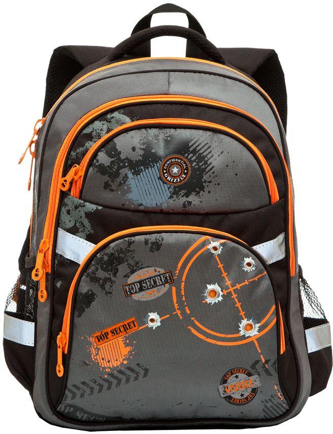 Grizzly Рюкзак школьный цвет черный оранжевый RB-629-2RB-629-2/2Рюкзак школьный, два отделения, два объемных кармана на молнии на передней стенке, боковые карманы из сетки, внутренний подвесной карман на молнии, внутренний составной пенал-органайзер, откидное жесткое дно, жесткая анатомическая спинка, дополнительная ручка-петля, мягкая укрепленная ручка, укрепленные лямки, светоотражающие элементы с четырех сторон.