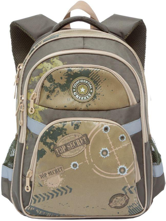 Grizzly Рюкзак школьный цвет болотный бежевый RB-629-2RB-629-2/4Рюкзак школьный, два отделения, два объемных кармана на молнии на передней стенке, боковые карманы из сетки, внутренний подвесной карман на молнии, внутренний составной пенал-органайзер, откидное жесткое дно, жесткая анатомическая спинка, дополнительная ручка-петля, мягкая укрепленная ручка, укрепленные лямки, светоотражающие элементы с четырех сторон.