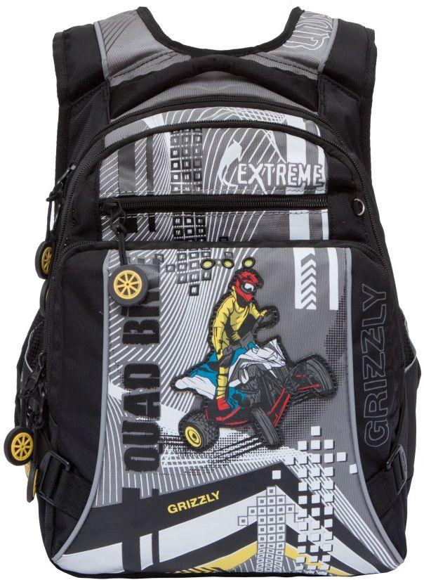 Grizzly Рюкзак школьный RB-631-1RB-631-1/3Рюкзак школьный, два отделения, карман на молнии на передней стенке, объемный карман на молнии на передней стенке, боковые карманы из сетки, внутренний карман на молнии, внутренний карман-пенал для карандашей, откидное жесткое дно, анатомическая спинка, мягкая укрепленная ручка, укрепленные лямки, светоотражающие элементы с четырех сторон.