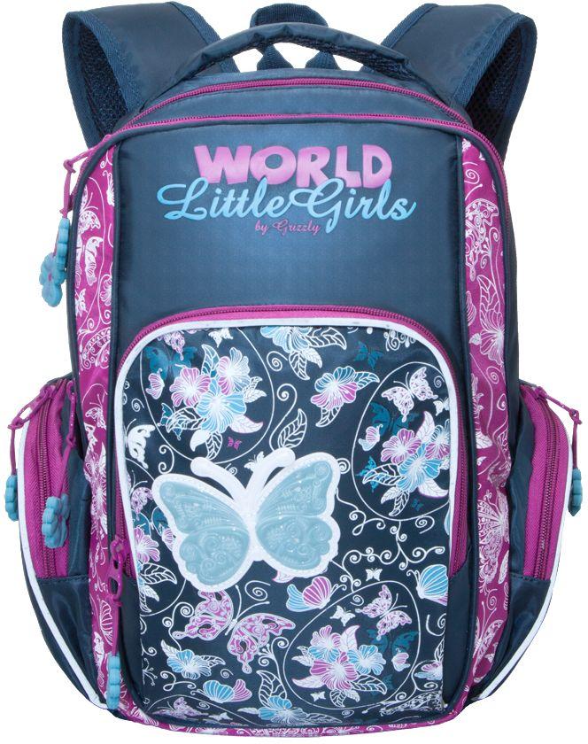 Grizzly Рюкзак школьный цвет синий RG-660-372523WDРюкзак школьный, два отделения, объемный карман на молнии на передней стенке, объемные боковые карманы на молнии, внутренний карман, внутренний подвесной карман на молнии, откидное жесткое дно, жесткая анатомическая спинка, мягкая укрепленная ручка, укрепленные лямки, светоотражающие элементы с четырех сторон.