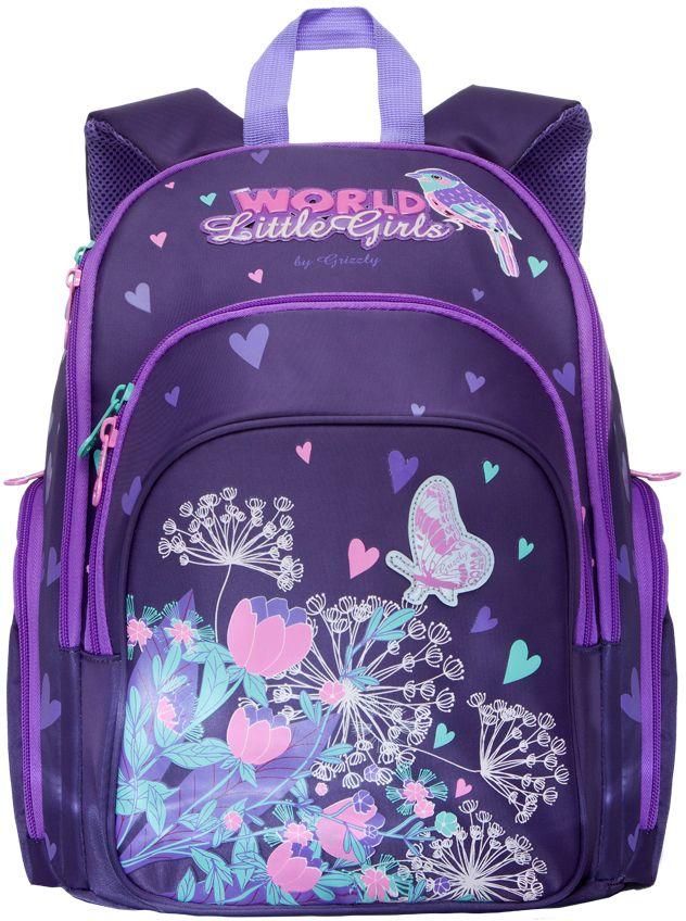 Grizzly Рюкзак школьный цвет фиолетовый RG-662-1RG-662-1/3Рюкзак школьный, два отделения, объемный карман на молнии на передней стенке, объемные боковые карманы на молнии, внутренний карман на молнии, откидное жесткое дно, разделительная перегородка-органайзер, жесткая анатомическая спинка, дополнительная ручка-петля, укрепленные лямки, светоотражающие элементы с четырех сторон.