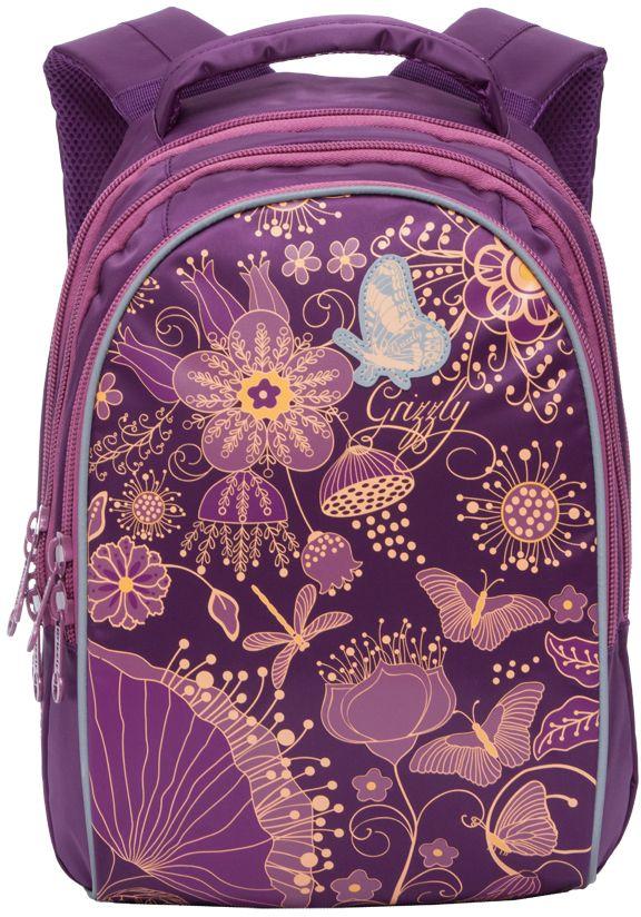 Grizzly Рюкзак школьный цвет фиолетовый RG-767-372523WDРюкзак молодежный, три отделения, внутренний карман на молнии, внутренний карман-пенал для карандашей, жесткая анатомическая спинка, мягкая укрепленная ручка, укрепленные лямки, светоотражающие элементы с четырех сторон.