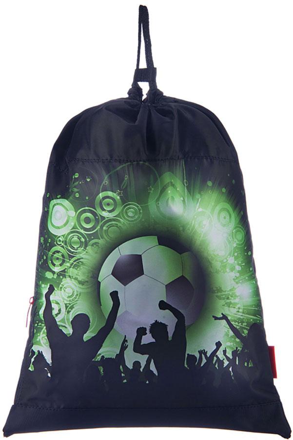 Grizzly Мешок для обуви Футбол цвет зеленый72523WDРюкзак-мешок для обуви с одним отделением и карманом на молнии, верх мешка стягивается шнуром в кулиске, который является еще и лямками, с ручкой-петлей.