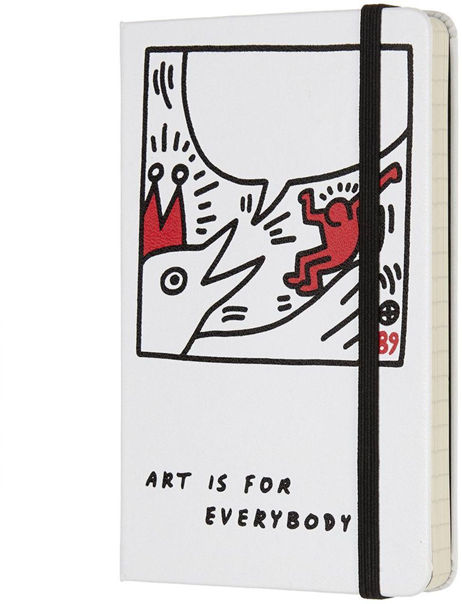 Moleskine Блокнот Keith Haring 192 листа в линейку цвет белый72523WDKeith Haring - новая ограниченная серия блокнотов Moleskine. Посвящена легендарному американскому художнику 80-х годов 20 века. Блокноты украшены репродукциями его работ.Неповторимые черты записной книжки Молескин: Прошитый нитками переплет;Практичные скругленные углы;Не желтеющие со временем страницы;Быстро впитывающая чернила бумага;Вместительный внутренний кармашек.