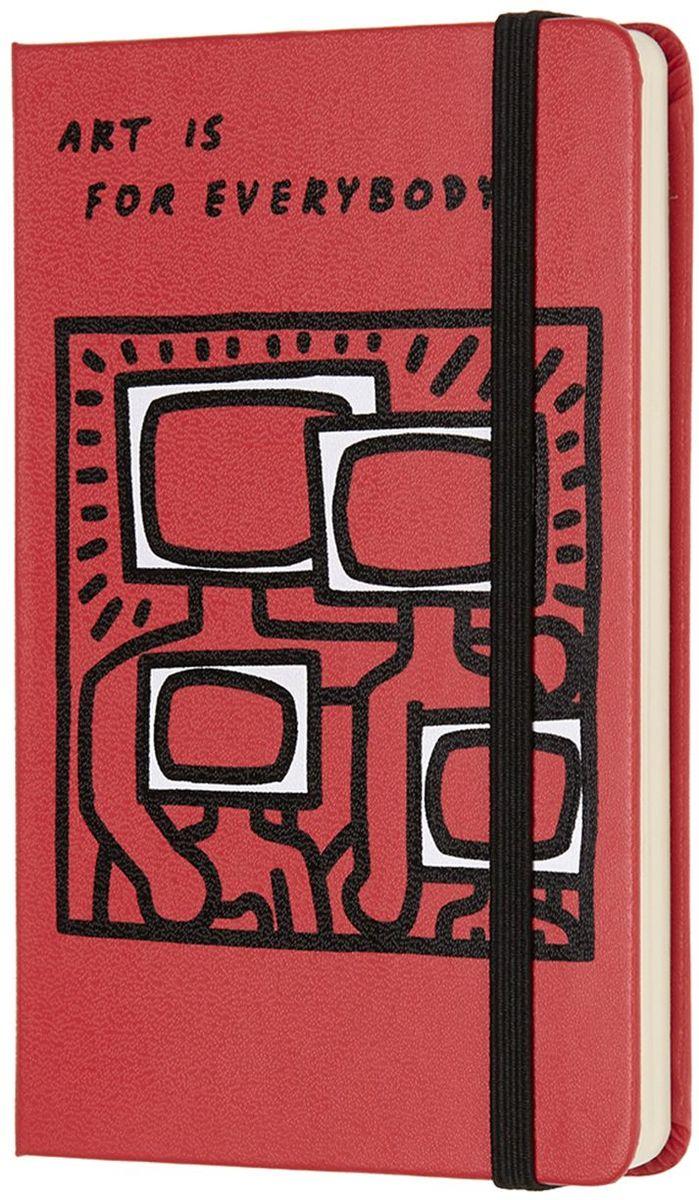 Moleskine Блокнот Keith Haring 192 листа без разметки цвет красный430907Keith Haring - новая ограниченная серия блокнотов Moleskine. Посвящена легендарному американскому художнику 80-х годов 20 века. Блокноты украшены репродукциями его работ.Неповторимые черты записной книжки: прошитый нитками переплет; скругленные углы; не желтеющие со временем страницы; быстро впитывающая чернила бумага; вместительный внутренний кармашек, закладка-ляссе, резинка-фиксатор.