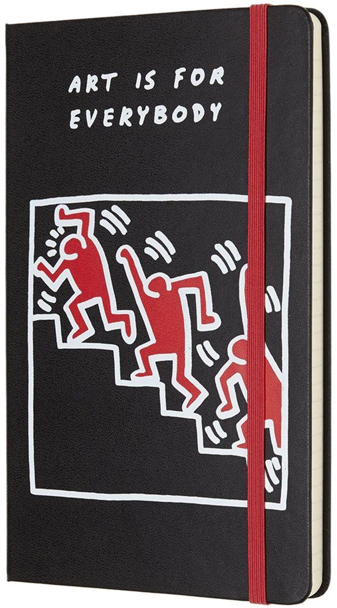 Moleskine Блокнот Keith Haring 240 листов в линейку цвет черный430915Keith Haring - новая ограниченная серия блокнотов Moleskine. Посвящена легендарному американскому художнику 80-х годов 20 века. Блокноты украшены репродукциями его работ.Неповторимые черты записной книжки: прошитый нитками переплет; скругленные углы; не желтеющие со временем страницы; быстро впитывающая чернила бумага; вместительный внутренний кармашек, закладка-ляссе, резинка-фиксатор.