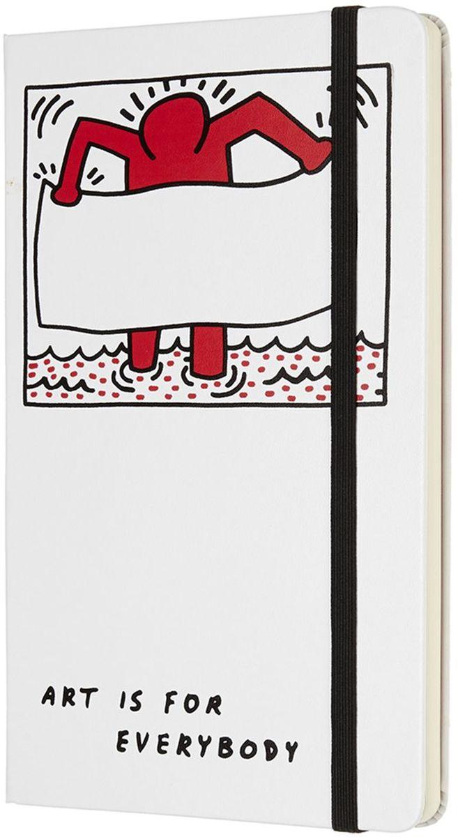 Moleskine Блокнот Keith Haring 240 листов без разметки цвет белый430916Keith Haring - новая ограниченная серия блокнотов Moleskine. Посвящена легендарному американскому художнику 80-х годов 20 века. Блокноты украшены репродукциями его работ.Неповторимые черты записной книжки: прошитый нитками переплет; скругленные углы; не желтеющие со временем страницы; быстро впитывающая чернила бумага; вместительный внутренний кармашек, закладка-ляссе, резинка-фиксатор.