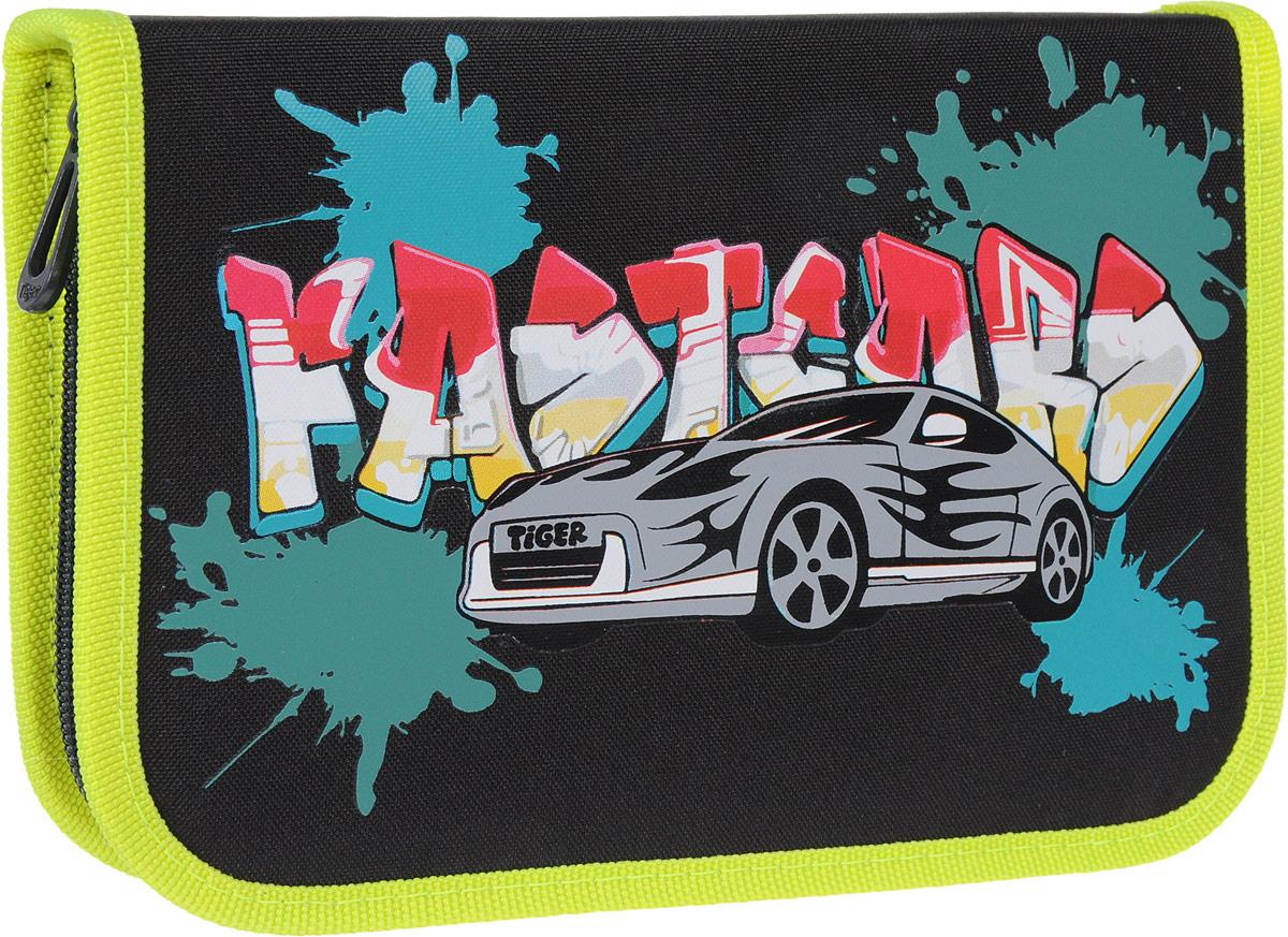 Tiger Enterprise Пенал Graffiti Car1705 E/A/TGПенал Tiger Enterprise Graffiti Car станет не только практичным, но и стильным аксессуаром для любого школьника. Пенал прямоугольной формы выполнен из прочного материала и состоит из одного вместительного отделения с откидной планкой, закрывающегося на застежку-молнию. Внутри располагается органайзер для письменных принадлежностей. Пенал оформлен изображением автомобиля на фоне надписи в стиле граффити. Такой пенал станет незаменимым помощником для школьника, с ним ручки и карандаши всегда будут под рукой и больше не потеряются.