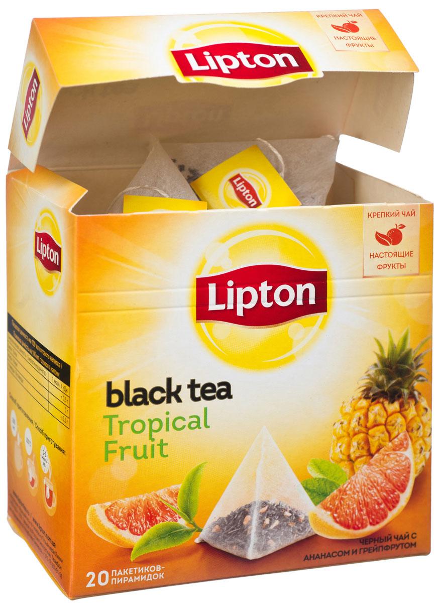 Lipton Tropical Fruit Tea фруктовый чай в пирамидках, 20 шт0120710Lipton Tropical Fruit Tea - байховый черный чай с ароматизатором тропических фруктов и кусочками фруктов. Источник новых впечатлений и ярких эмоций кроется в оригинальном сочетании кусочков ананаса и цедры грейпфрута с отборными чайными листочками, которое рождает глубокий насыщенный вкус, полностью раскрывающий богатство своих оттенков благодаря свободному пространству внутри пирамидки. Экзотический вкус вызывает восхищение!