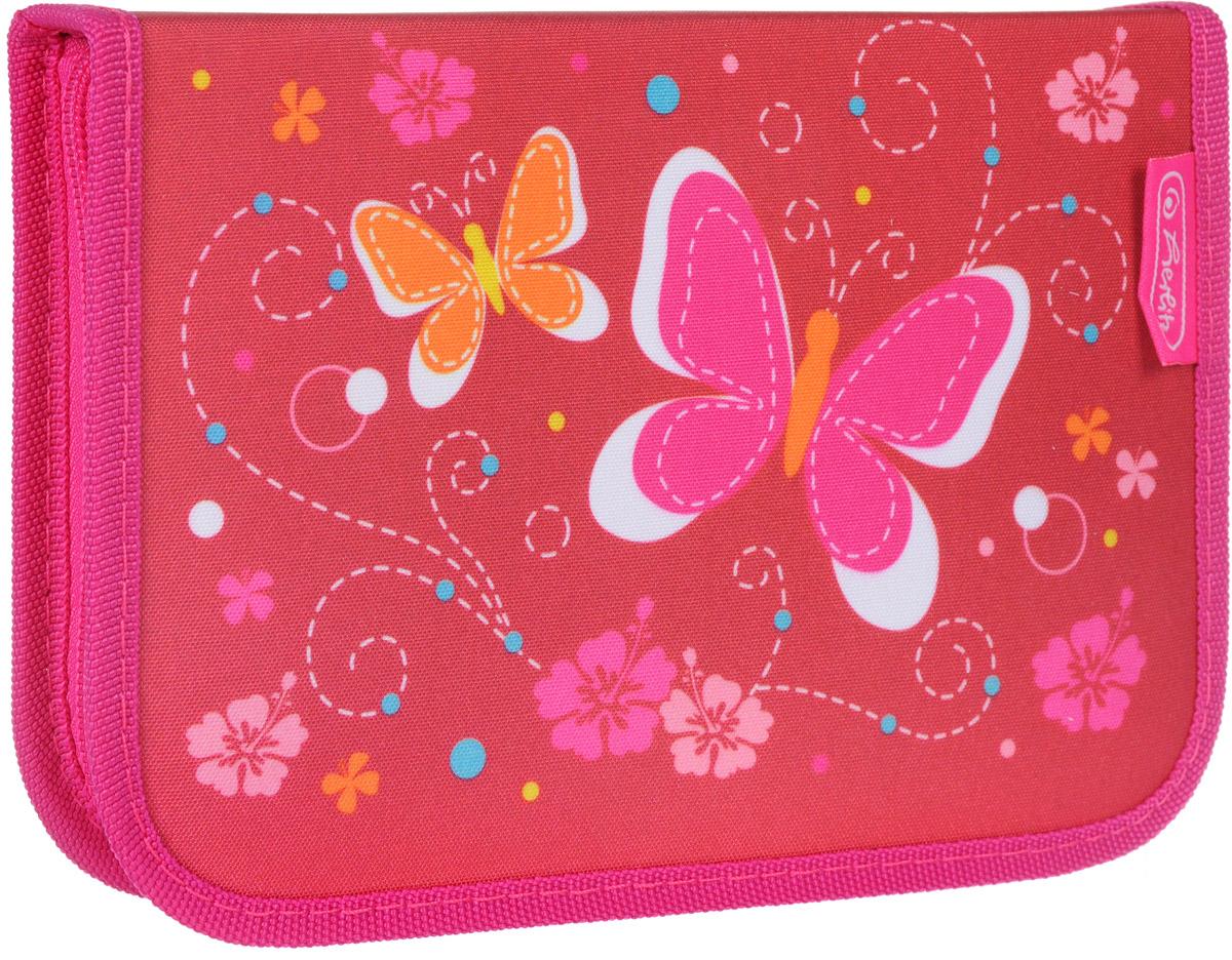 Пенал Herlitz Butterfly станет не только практичным, но и стильным аксессуаром для школьника.Жесткий пенал прямоугольной формы выполнен из прочного материала и отделан жестким кантом по краю, который поможет сохранить опрятный внешний вид. Пенал состоит из одного вместительного отделения с двумя створками, закрывающегося на застежку-молнию. Наполнение пенала включает шариковую ручку, 2 чернографитных карандаша, 8 цветных карандашей, 14 фломастеров, линейку и угольник, ластик и точилку, расписание уроков на русском языке и карточку для записи личных данных ученика.Пенал оформлен оригинальным принтом.Такой пенал станет незаменимым помощником для школьника, с ним ручки и карандаши всегда будут под рукой и больше не потеряются.