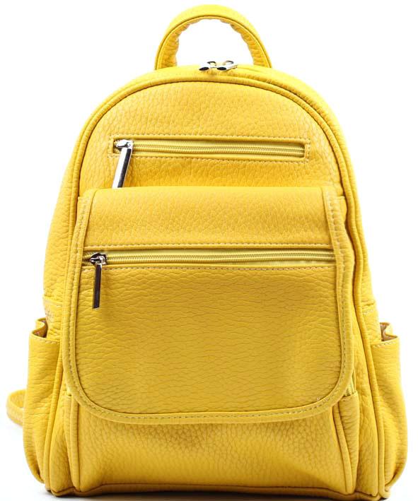 Рюкзак женский Медведково, цвет: желтый. 17с3636-к14S76245Рюкзак женский, с одним отделением, на передней и задней стенках карманы на молнии. Размер: 340х260х70