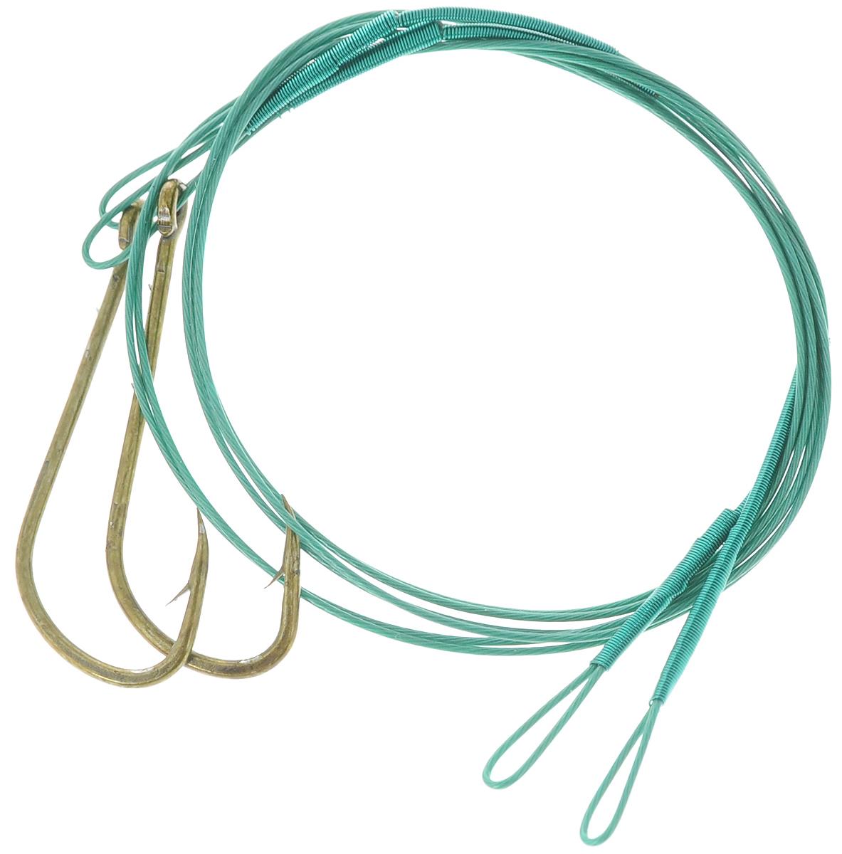 Набор поводков Atemi, с крючком №1, 2 шт. 605-20401PGPS7797CIS08GBNVКрючок в сборе со стальным поводком в оплетке используется для оснащения снастей для ловли хищника на живца. В комплекте 2 поводка.