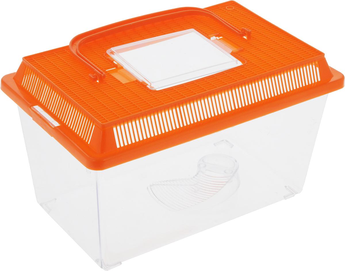 Контейнер-переноска для рептилий Repti-Zoo, цвет: прозрачный, оранжевый, 27 х 17 х 16,8 см83615003_прозрачный, оранжевыйКонтейнер-переноска для рептилий Repti-Zoo изготовлен из прозрачного пластика. Изделие имеет цветную крышку, которая плотно фиксируется с помощью защелок. Мелкие отверстия обеспечивают вентиляцию. На крышке имеется прозрачное окошко для легкого доступа внутрь. Также в контейнере предусмотрена встроенная миска. Для удобной переноски имеется ручка. Контейнер идеально подходит для транспортировки небольших рептилий, например, черепах, ящериц.