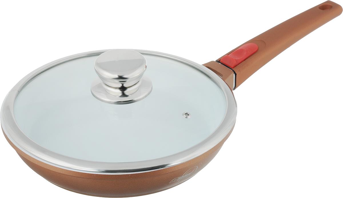 Сковорода BartonSteel с крышкой, с керамическим покрытием, со съемной ручкой, цвет: бронзовый. Диаметр 24 см147304Сковорода BartonSteel изготовлена из прочного алюминия с внутренним керамическим покрытием, которое обладает высокой прочностью. Кроме того, с таким покрытием пища не пригорает и не прилипает к стенкам. Готовить можно с минимальным количеством масла. Сковорода быстро разогревается, распределяя тепло по всей поверхности, что позволяет готовить в энергосберегающем режиме, значительно сокращая время, проведенное у плиты. Сковорода оснащена съемной пластиковой ручкой с силиконовым покрытием Soft-Touch, она не нагревается в процессе готовки и обеспечивает надежный хват. Крышка изготовлена из жаропрочного стекла, оснащена ручкой, отверстием для выхода пара и металлическим ободом. Благодаря такой крышке можно следить за приготовлением пищи без потери тепла. Подходит для газовых, электрических, стеклокерамических, галогеновых, индукционных плит. Можно мыть в посудомоечной машине.Диаметр сковороды (по верхнему краю): 24 см.Высота стенки: 4,8 см.Длина ручки: 19 см.Диаметр индукционного диска: 19 см.