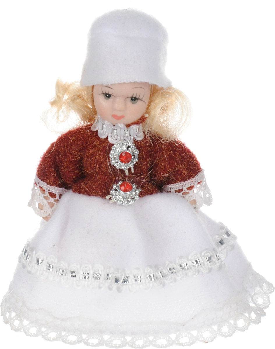 Фигурка декоративная Lovemark Кукла, цвет: красный, белый, высота 10 смRSP-202SДекоративная фигурка Lovemark Кукла изготовлена из керамики в виде куклы с кудрявыми светло-русыми волосами, большими глазами и ресницами. Куколка одета в длинное платье, декорированное тесьмой, и берет. Вы можете поставить фигурку в любое место, где она будет красиво смотреться и радовать глаз. Кроме того, она станет отличным сувениром для друзей и близких. А прикрепив к ней петельку, такую куколку можно подвесить на елку.Размер: 10 х 3,5 см.