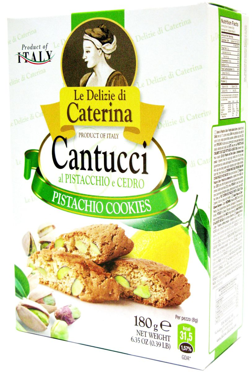 Le Delizie di Caterina печенье Кантуччи с фисташками, 200 г0120710Итальянская семейная компания Pescaradolc Srl основана в 1998 году братьями Фальконе: Жан Франко, Андреа, Родольфо. Компания расположена в самом сердце Италии, в местечке Москуфо, недалеко от Абруццо. Производственная мощность составляет 2000 м2. В начале работы компания специализировалась на производстве шоколадных тортов. В 1999 году компания Pescaradolc Srl начала выпускать хрустящее миндальное печенье кантуччи и кантуччини, а через несколько месяцев – итальянское печенье. В 2000 году компания Pescaradolc Srl выпустила органическую линейку свежей выпечки ТМ LE FRAGRANZE. Сегодня компания Pescaradolc Srl специализируется на производстве кантуччи, кантуччини, традиционного итальянского печенья, шоколадных тортов и органических кондитерских изделий.