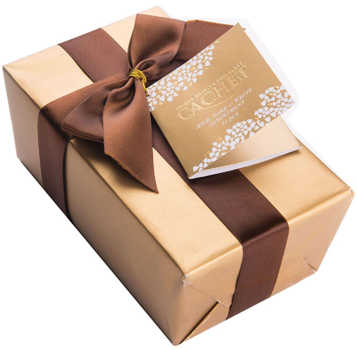 Cachet конфеты шоколадные ассорти, 200 г0120710Конфеты шоколадные ассорти Cachet - уникальный набор бельгийских шоколадных конфет не оставит равнодушным поклоннников шоколада. Продукция компании популярна во всем мире благодаря своему высокому качеству и изысканному дизайну. Вся продукция Kim's Chocolates NV изготавливается по оригинальной старинной бельгийской рецептуре, которая придает шоколаду незабываемый и неповторимый вкус.Лучшие ингредиенты, современные технологии и строгий контроль на всех этапах производства гарантируют высокое качество продукцииKim's Chocolates NV.
