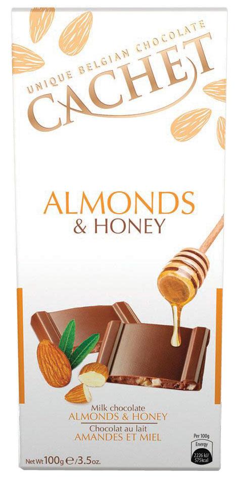 Cachet шоколад молочный со вкусом и ароматом меда и миндалем, 100 гУТ20470Шоколад молочный со вкусом и ароматом меда и миндалем Cachet - благородный бельгийский шоколад с кристаллами меда и миндаля. Продукция компании популярна во всем мире благодаря своему высокому качеству и изысканному дизайну. Вся продукция Kim's Chocolates NV изготавливается по оригинальной старинной бельгийской рецептуре, которая придает шоколаду незабываемый и неповторимый вкус.Лучшие ингредиенты, современные технологии и строгий контроль на всех этапах производства гарантируют высокое качество продукцииKim's Chocolates NV.