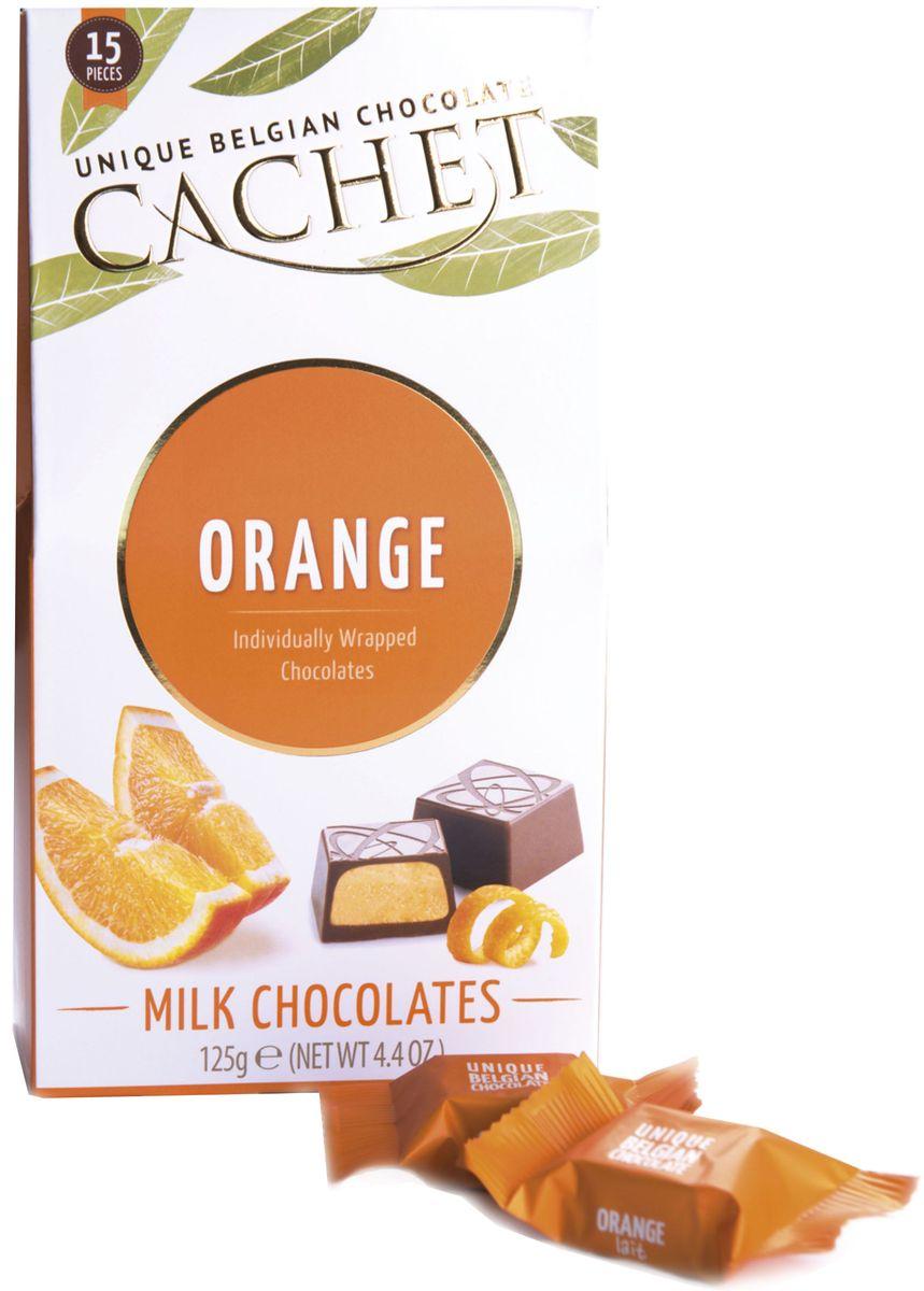 Cachet конфеты шоколадные из молочного шоколада со вкусом и ароматом апельсина, 125 гМС-00008198Конфеты шоколадные из молочного шоколада со вкусом и ароматом апельсина Cachet по достоинству оценят настоящие гурманы и поклонники экзотического вкуса. Продукция компании популярна во всем мире благодаря своему высокому качеству и изысканному дизайну. Вся продукция Kim's Chocolates NV изготавливается по оригинальной старинной бельгийской рецептуре, которая придает шоколаду незабываемый и неповторимый вкус.Лучшие ингредиенты, современные технологии и строгий контроль на всех этапах производства гарантируют высокое качество продукцииKim's Chocolates NV.