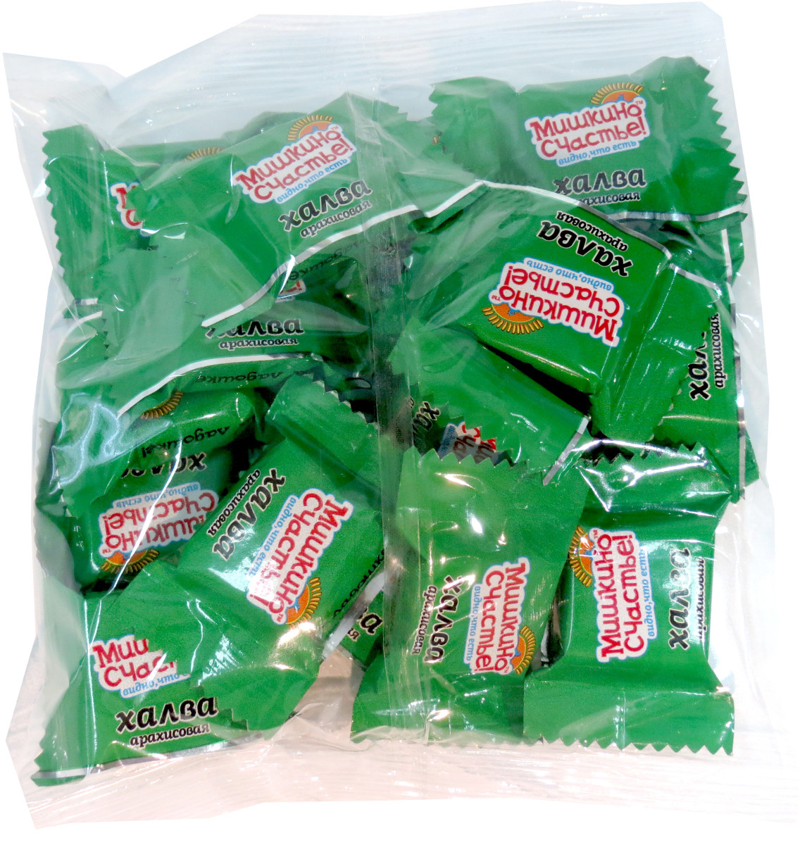 Мишкино счастье конфеты халва арахисовая, 300 г0120710Тающая во рту конфета из арахиса. Конфеты в удобной упаковке.