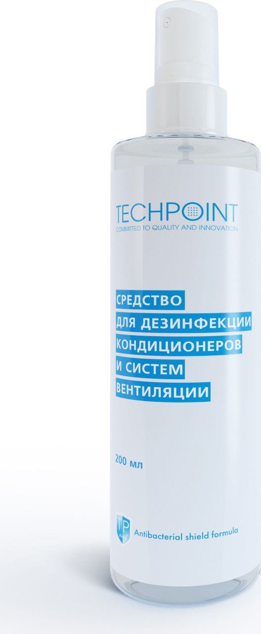 Средство для дезинфекции кондиционеров и систем вентиляции Techpoint, 250 млGC204/30Мощный препарат предназначен для дезинфекции систем вентиляции и кондиционирования воздуха (бытовые кондиционеры, автомобильные кондиционеры, сплит-системы).Входящий в состав компонент дезинфицирует поверхности на срок до 36 недель. Мощный препарат убивает опасные для здоровья вирусы, бактерии, грибки, плесень – причину заболеваний и неприятного запаха.
