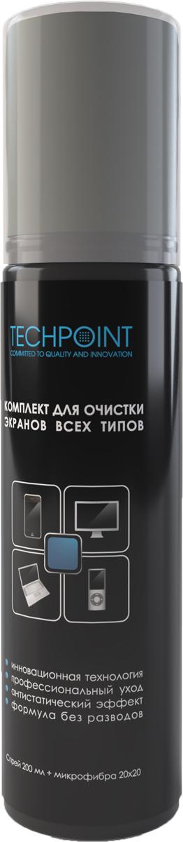 Набор для очистки всех типов экранов Techpoint Screen Cleaning Kit, 2 предметаFS-99674Комплект для очистки всех типов экранов TechPoint - Screen Cleaning Kit, спрей 200мл.+микрофибра (арт.7776)