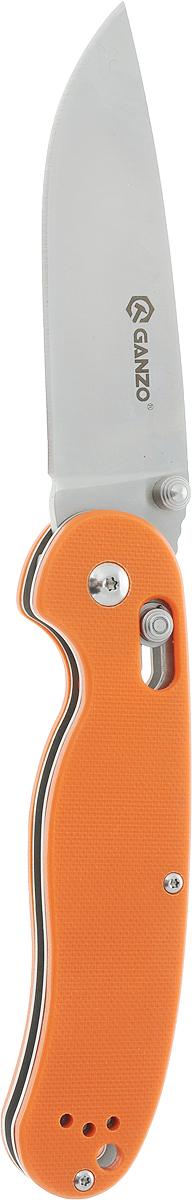 Нож складной туристический Ganzo G727M, цвет: оранжевый1.3603.T7Область применения Ganzo 727M достаточно широка благодаря тому, что это карманный нож, который вполне безопасно переносить и удобно использовать. Его можно взять в качестве помощника на рыбалку или в туристический поход, на охоту, на пикник или велопрогулку. В городе нож также может оказаться очень полезен, если вам понадобится разрезать яблоко, упаковку своих покупок или же решить другие задачи. Лезвие ножа сделано из нержавеющей стали, что также большой плюс для ножа, который используется на природе. В данной модели используется марка стали 440С, которая помимо высокой сопротивляемости коррозии отличается еще и довольно большой твердостью (около 58 единиц Роквелла). Заточен нож гладко, что дает возможность резать им практически любые продукты и материалы. Ganzo 727M долго остается острым и легко затачивается даже при помощи карманной точилки в полевых условиях. Размеры клинка составляют 8,9 см при общих габаритах ножа 21 см. Зато в сложенном положении инструмент имеет размеры всего 12 см. Толщина лезвия в районе обуха составляет 3,5 мм. Рукоятка данной модели оформлена при помощи современного композитного материала - пластика G10. Он характеризуется большой долговечностью, прочностью и стойкостью к механическим или химическим воздействиям. На рукоятке предусмотрена клипса для страховочного закрепления ножа во время переноски и отверстие для продевания темляка. Положение клинка ножа фиксируется при помощи одного из самых надежных механизмов - замка AxisLock. Этот замок исключает случайное срабатывание и позволяет открыть нож при помощи одной руки.Особенности:- нож складной конструкции; - длина лезвия составляет 89 мм; - общий размер готового к работе ножа - 210 мм; - для клинка выбрана сталь 440С; - задекларированная твердость металла - +-58HRC; - накладки для рукоятки - стеклопластик G10; - фиксатор клинка - AxisLock. Гарантия: Для ножей Ganzo 727M компания-производитель установила гарантийный срок эк