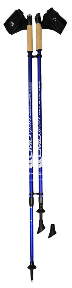 Палки для скандинавской ходьбы CMD Sport, телескопические, цвет: синий, S-M, длина 90-140 см, 2 шт332515-2800Телескопические алюминиевые палки для скандинавской ходьбы CMD Sport синего цвета. Палки состоят из двух секций, и имеют размер 87 см в сложенном виде. Такие палки удобны при транспортировке, их можно положить в чехол или оставить в автомобиле до очередного занятия.Палки для скандинавской ходьбы CMD Sport выполнены из прочного алюминия, и прекрасно подойдут новичкам для освоения правильной техники скандинавской ходьбы. Каждая пара палок укомплектована резиновыми наконечниками для ходьбы по асфальту. При занятиях в парке на грунте, песке или по снегу можно использовать металлические наконечники, которые изготовлены из вольфрама, и прослужат вам не один сезон. Ручки скандинавских палок CMD Sport эргономичной формы и изготовлены из пластика со вставкой из натуральной пробки, что обеспечит комфорт при занятиях в любую погоду. Темляки телескопических палок CMD Sport являются быстросъемными. Вы можете отстегнуть руку с темляком от ручки палки за пару секунд и сделать несколько упражнений или ответить на срочный звонок.Палки для финской ходьбы CMD Sport легки в использовании и практичны, благодаря телескопической конструкции могут быть использованы ходоками с разным ростом. Они станут прекрасным подарком близким людям.Основной цвет: синийВысота: регулируемая (телескоп.)Размер: 90-140 смСостав: алюминиевый сплавРучка: PP with cork (полипроп./пробка)Темляк: ComFit C, съемныйРазмер темляка: S/M или L/XLНаконечник: Несъемный металлический для грунтаНасадка: резиновый башмакНе подлежит обязательной сертификацииСрок службы 5 летГарантия на палки для скандинавской ходьбы действует в течение 30 дней с момента покупки, распространяется только на древко палок, не распространяется на комплектующие принадлежности (темляки, наконечники). Гарантийным случаем не является:- неисправность, возникшая по вине Покупателя (неправильная эксплуатация, несоблюдение техники скандинавской хо