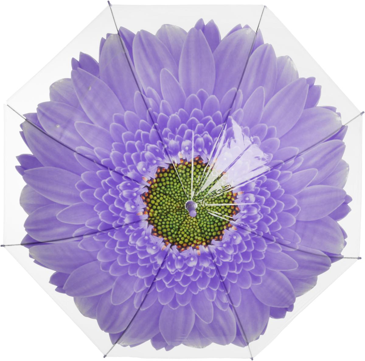Зонт женский Эврика Цветок, цвет: фиолетовый, белый. 97857CX1516-50-10Зонт-трость полиэтиленовый, диаметр купола 1 метр, длинна трости 74 см.Упаковка: пакет прозрачный.