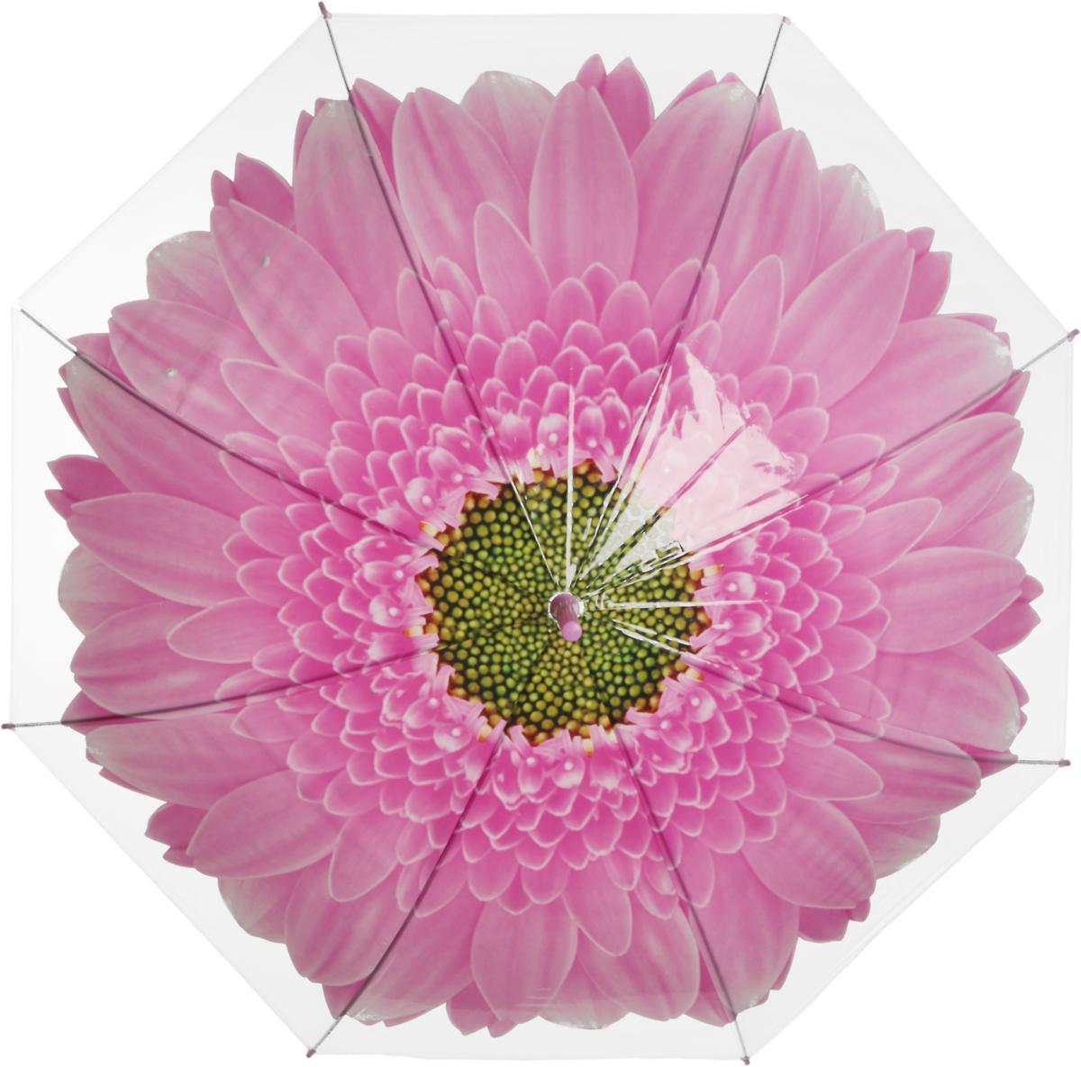 Зонт женский Эврика Цветок, цвет: розовый, белый. 978561003-ZK1268/zЗонт-трость полиэтиленовый, диаметр купола 1 метр, длинна трости 74 см.Упаковка: пакет прозрачный.