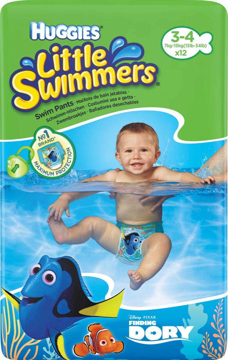 Huggies Трусики-подгузники для плавания Little Swimmers 3-4 (7-15кг), 12 шт -