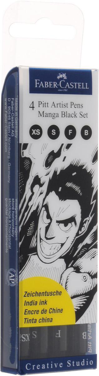 Faber-Castell Капиллярные ручкиPitt Artist Pen Manga Black Set 4 шт730396Набор Faber-Castell Pitt Artist Pen Manga Black Set подходит для набросков, рисования и живописи, благодаря специальному наконечнику. В наборе ручки разного размера ширины наконечника: B, F, S, XS.Такие ручки широко востребованы среди дизайнеров и художников иллюстраторов.Чернила обладают высокой светоустойчивостью и после высыхания не размываются. Специальные чернила не содержат кислот и являются устойчивыми к воздействию солнечных лучей.Уважаемые клиенты! Обращаем ваше внимание на возможные изменения в дизайне упаковки. Поставка осуществляется в зависимости от наличия на складе.