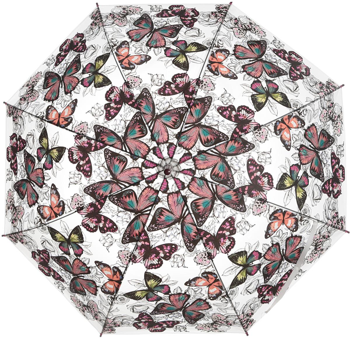 Зонт женский Эврика Бабочки, цвет: вишневый, серый. 97850Колье (короткие одноярусные бусы)Зонт-трость полиэтиленовый, диаметр купола 110 см, длинна трости 80 см.Упаковка: пакет прозрачный.