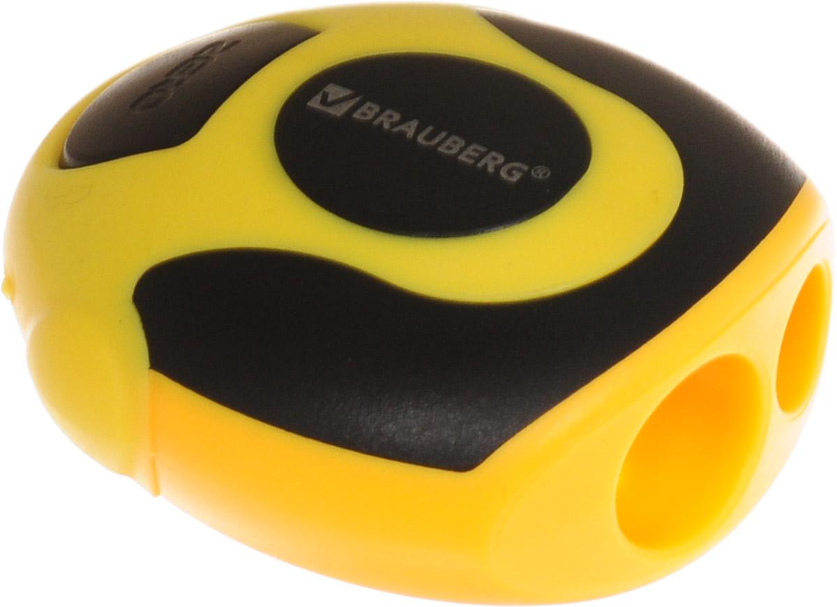 Brauberg Точилка двойная Sirius72523WDТочилка используется для обычных и утолщённых карандашей. Качественное стальное лезвие обеспечивает лёгкое равномерное затачивание. Оригинальная эргономичная форма с резиновыми вставками для защиты от скольжения.•2 отверстия для карандашей разного диаметра. •Яркий пластиковый корпус. •Цвет - ассорти. •Упаковка с подвесом. •Размер - 2х4х4,6 см. •Резиновые вставки для защиты от скольжения. Уважаемые клиенты! Обращаем ваше внимание на цветовой ассортимент товара. Поставка осуществляется в зависимости от наличия на складе.