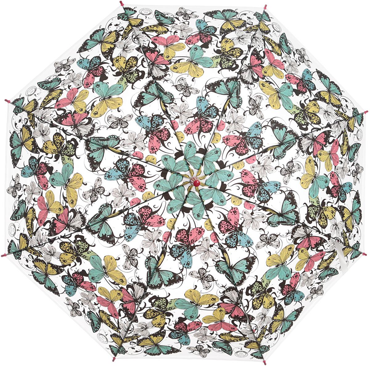 Зонт женский Эврика Бабочки, цвет: голубой, розовый, желтый. 97852CX1516-50-10Зонт-трость полиэтиленовый, диаметр купола 110 см, длинна трости 80 см.Упаковка: пакет прозрачный.