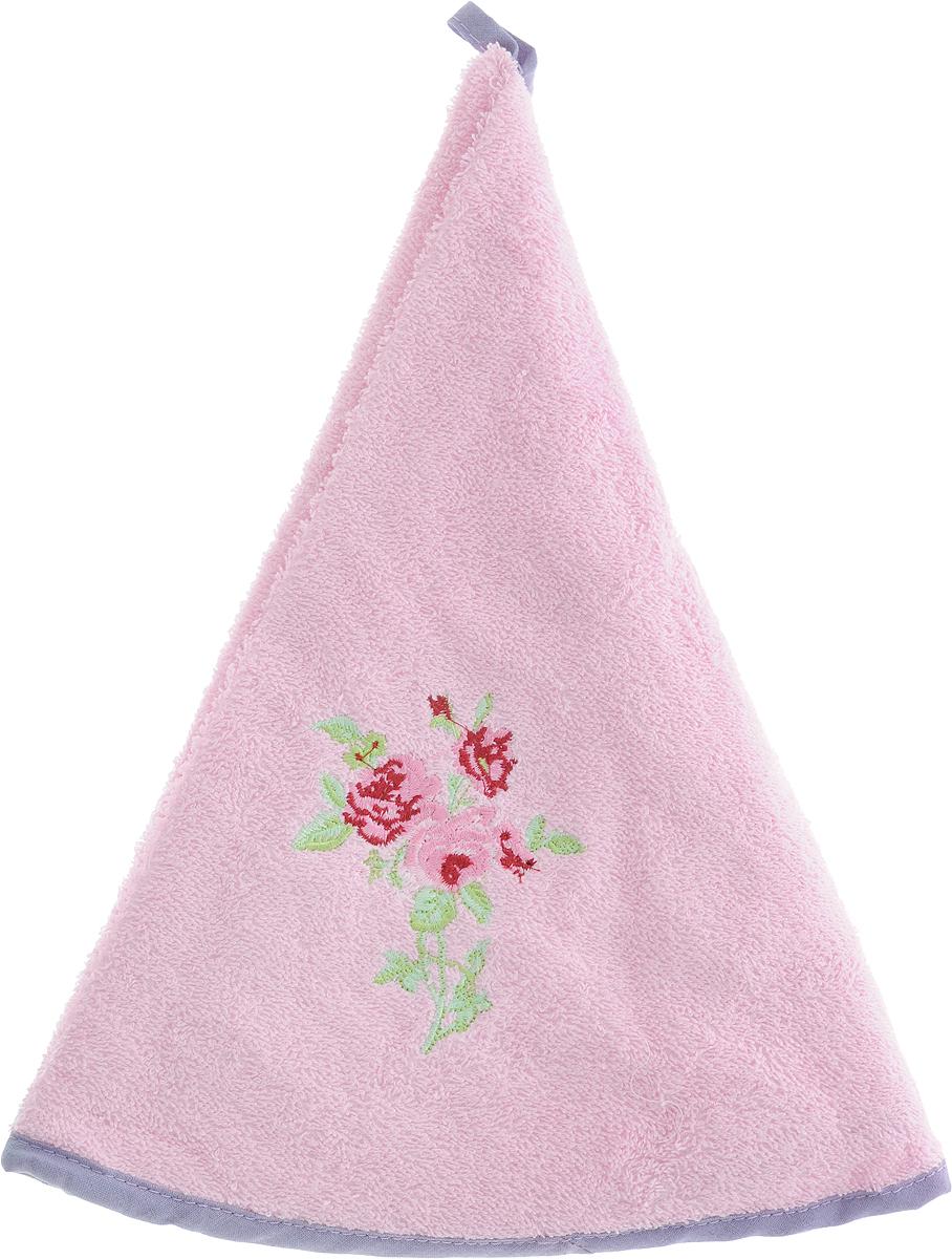 Полотенце кухонное Soavita Розы, диаметр 70 см1004900000360Круглое кухонное полотенце Soavita выполнено из приятной на ощупь махровой ткани (100% хлопок). Изделие отлично впитывает влагу, быстро сохнет, сохраняет яркость цвета и не теряет форму даже после многократных стирок. Полотенце дополнено каймой контрастного цвета и красивой цветочной вышивкой. С помощью специальной петельки его удобно вешать на крючок. Полотенце очень практично и неприхотливо в уходе. Оно создаст прекрасное настроение и дополнит интерьер.
