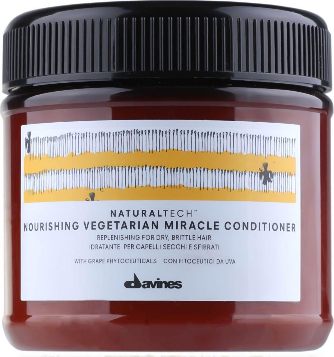 Davines Питательный кондиционер Вегетарианское чудо New Natural Tech Nourishing Vegetarian Miracle Conditioner, 250 млMP59.4DПитательный кондиционер Вегетарианское чудо эффективно увлажняет ломкие и сухие волосы. В нем содержится фитоактив винограда, который богат полифенолами и потому является очень сильным антиоксидантом. Масла риса, асаи и пассифлоры отвечают за процесс кондиционирования и защищают волосы. pH 5,4.