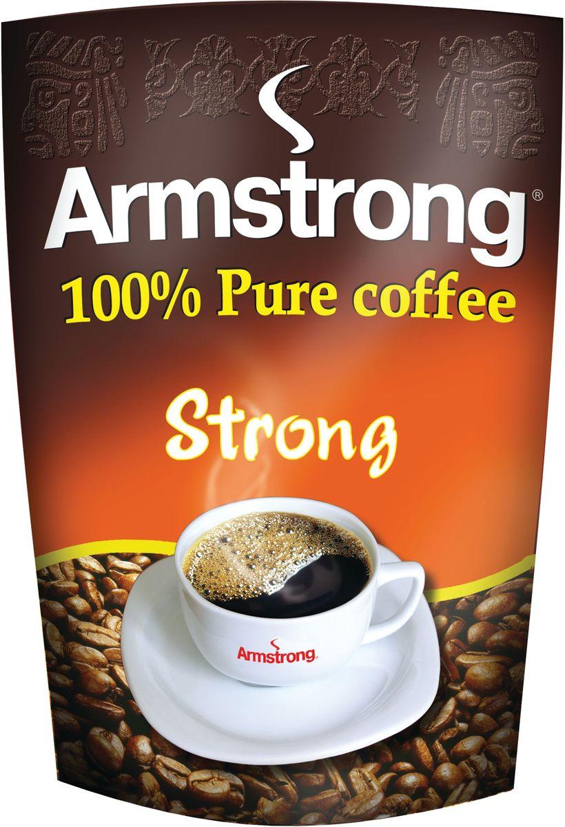 Armstrong Strong кофе растворимый, 75 г4607051541276Растворимый порошкообразный кофе сочетает в себе бодрящую крепость Робусты с нежным кофейным ароматом Арабики. Рецепт этого кофе разработан специально для ценителей традиционного крепкого индийского растворимого кофе, а доступная цена придется по вкусу всем кофеманам.