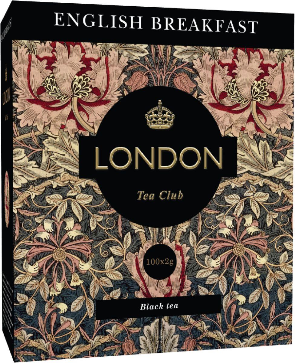London Tea Club English Breakfast черный чай в пакетиках, 100 шт0120710Крепкий, бодрящий English Breakfast занимает почетное место среди самых популярных чайных купажей во всем мире. Этот чай с насыщенным вкусом и ароматом, дающий энергию, традиционно используют в качестве утреннего чая. Хорошо сочетается с молоком или лимоном.