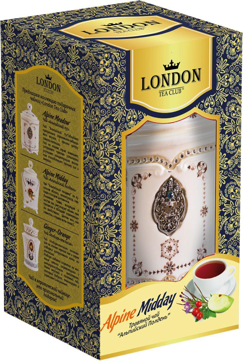 London Tea Club Альпийский полдень фруктово-травяной чай в чайнице, 70 г4607051541948Фруктово-травяная смесь Альпийский полдень - травяная смесь с добавлением плодов шиповника, лемонграсса, каркаде и кусочков яблока. Лемонграсс (лимонная трава), которая входит в состав, регулирует обменные процессы и обладает освежающими свойствами.