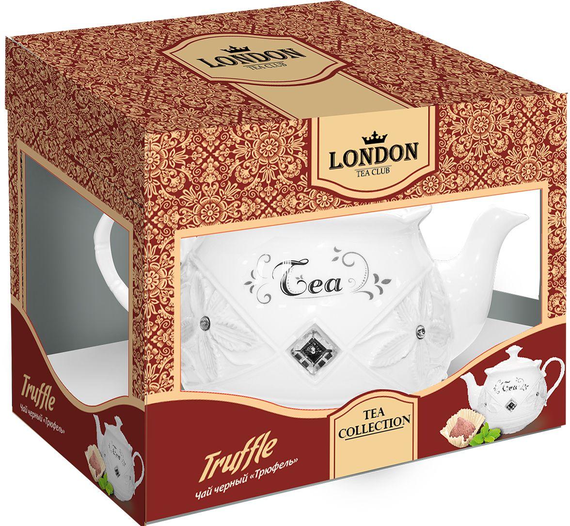 London Tea Club Трюфель чай черный в заварнике, 100 г4607051542471Чай Трюфель с бархатным вкусом черного чая с нежным ароматом какао и шоколадно-сливочной помадки. Яркое сочетание чая с лепестками сафлора подарит вам и вашим близким гармонию и солнечное настроение на весь день.