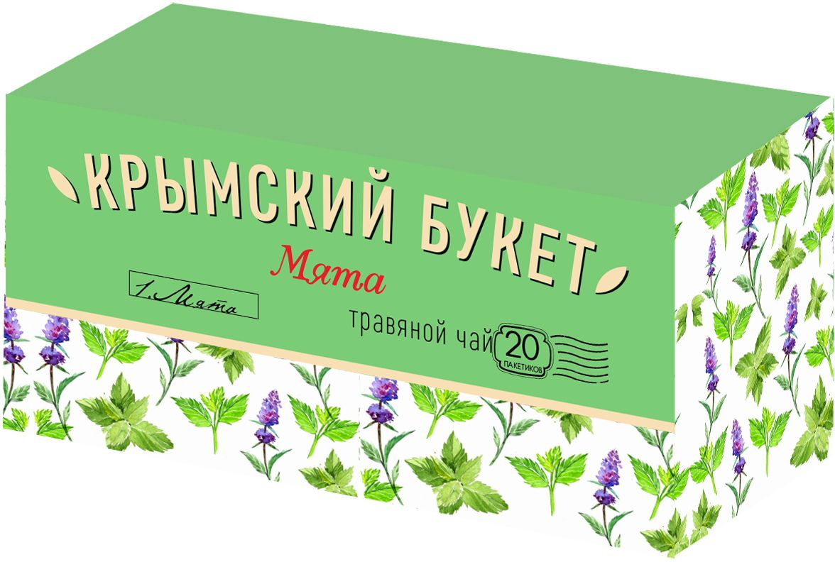 Крымский букет Мята травяной чай в пакетиках, 20 шт4607051543089Превосходно освежает и утоляет жажду, помогает снять нервное напряжение, расслабиться, восстановить силы.
